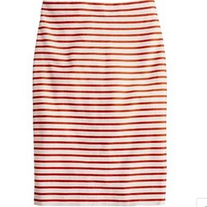 J Crew No. 2 Pencil Skirt Deck Stripe Sz 12 Rust